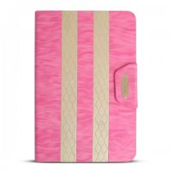 Bao da iPad Mini 2/3 kẻ sọc hiệu iKare (hồng cánh sen)