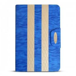 Bao da iPad Mini 2/3 kẻ sọc hiệu iKare (xanh dương)