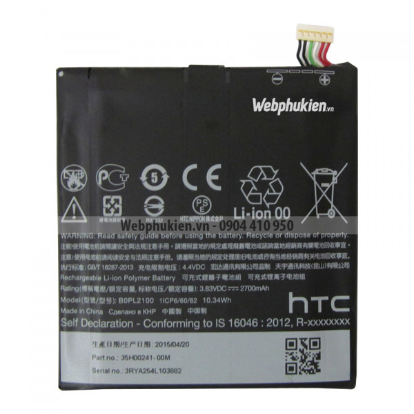 Pin HTC Butterfly 3 (BOPL2100) - 2700mAh Original Battery