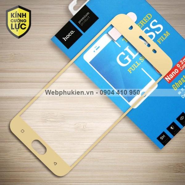 Miếng dán cường lực Oppo F3 Lite / A57 hiệu HOCO Full màn hình (Vàng)